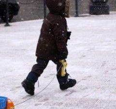 vaikas eina su rogutem