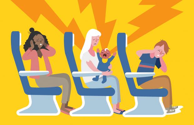 vaikas lėktuve versli mama